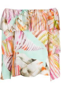 Blumarine Graphic Print Off-Shoulder Blouse - Neutro