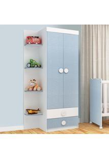 Guarda-Roupa De Bebê 2 Portas 2 Gavetas Arco-Íris62D229 Branco/Azul - Rodial