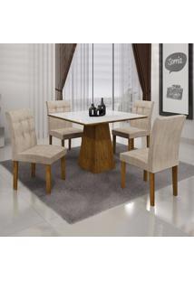 Conjunto Sala De Jantar Mesa Tampo Mdf/Vidro E 4 Cadeiras Itália Leifer Canela/Animale Crú