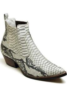 Bota Couro Country Top Franca Shoes Masculino - Masculino-Off White