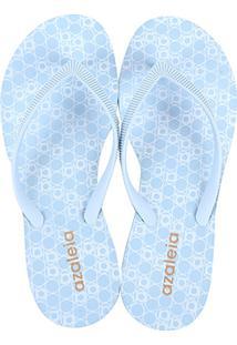 Chinelo Azaleia Estampado Solado Médio Feminino - Feminino-Azul Claro