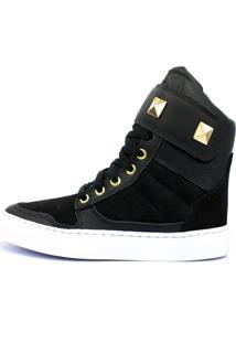 Tênis Sneaker Fitness Cheia De Marra Couro Cano Alto Preto