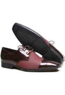 Sapato Casual Couro Calvest Masculino - Masculino-Bordô