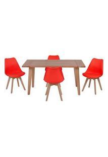 Conjunto Mesa De Jantar Em Madeira 150X80 Vértice + 4 Cadeiras Leda - Vermelho