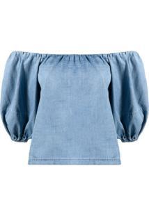 Pinko Blusa Ombro A Ombro Com Mangas Bufantes - Azul