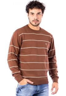 Blusa Tricot Carlan Listrada Basic Aw Decote Redondo