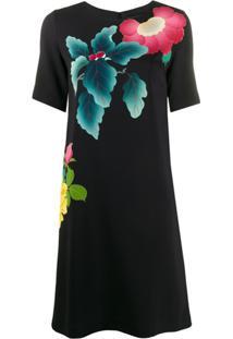 Etro Vestido Reto Com Estampa Floral - Preto