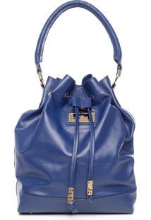 Bolsa Saco De Couro Azul