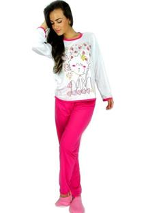 Pijamas Mvb Modas Longo Fechado Adulto Inverno Pink