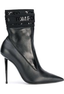 Tom Ford Ankle Boot Com Logo - Preto