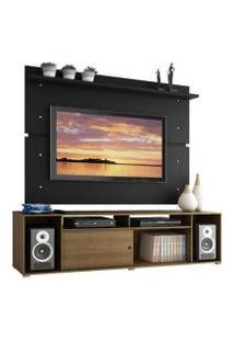 Rack Madesa Cancun E Painel Para Tv Até 65 Polegadas Rustic/Preto