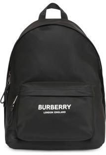 Burberry Mochila De Nylon Com De Logo - Preto