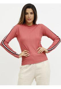 Blusa Texturizada Com Tiras Listradas- Rosa & Vinho-Miliore