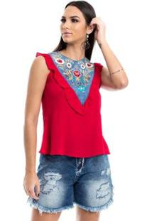 Blusa Com Detalhe Jeans Feminina - Feminino-Vermelho