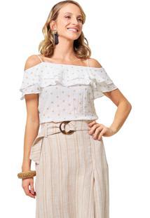 Blusa Mx Fashion Ciganinha Acassia Estampada Caqui