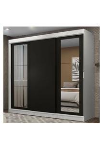 Guarda-Roupa Casal Madesa Kansas 3 Portas De Correr Com Espelhos 3 Gavetas Branco/Preto Cor:Branco/Preto
