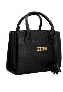 Bolsa Sanfonada Handbag Feminina Preta Selten