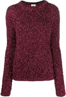 Saint Laurent Suéter Metalizado Texturizado - Vermelho