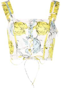 Alexis Regata Cropped Com Estampa Floral - Verde