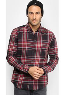 Camisa Ellus 2Nd Floor Ml Tricoline Xadrez Masculina - Masculino-Vermelho