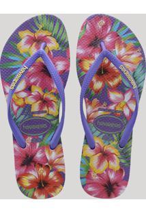 Chinelo Feminino Havaianas Slim Estampado Floral Roxo Neon