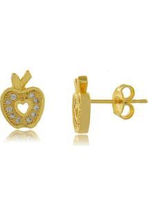 Brinco Maça Com Mini Zircônias Rendadas 3Rs Semijoias Dourado