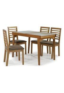 Conjunto Navagio Mesa Elastica Tampo Vidro Branco 4 Cadeiras Ripada Estofado Marrom - 59608 Branco