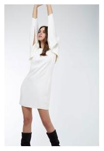 Vestido Box Volume Manga Off White