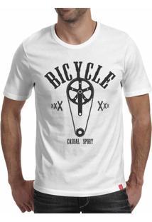 Camiseta Casual Sport Bicycle Branca