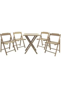 Jogo De Mesa Com Cadeiras Beer- Marrom Claro- 5Pã§S