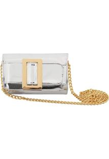 Bolsa Clutch Liage Couro Pu Prata, Corrente Metal Dourado
