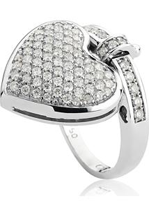 Anel De Ouro Branco 18K Coração E Aro Com Pavê De Diamantes-Coleção My Heart