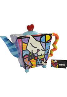 Bule Romero Britto Gato Branco - Cerâmica Trevisan Concept