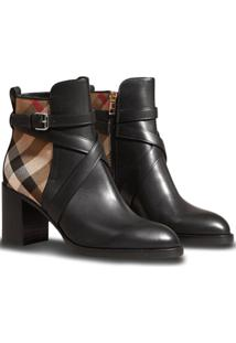 Burberry Ankle Boot Xadrez - Preto