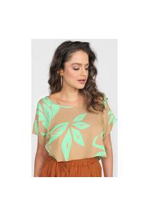 Camiseta Cropped Forum Folhagem Verde/Marrom