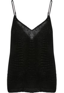 Frame Blusa Decote Em V Com Efeito De Pele De Crocodilo - Cinza