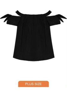 Blusa Feminina Plus Size Ciganinha Preto