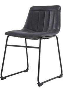 Cadeira Brenda Assento Courino Preto Com Base Aco Preto - 53160 - Sun House