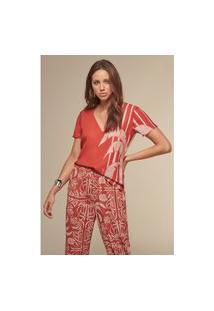 T-Shirt Acostamento Estampa Hype Ethnic Vermelho