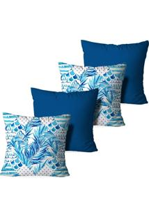 Kit 4 Capas Para Almofadas Decorativas Love Decor Tropical Multicolorido Azul - Kanui
