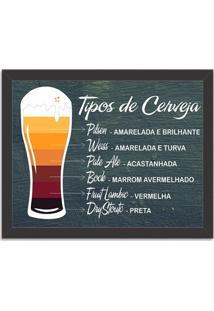 Quadro Decorativo Tipos De Cerveja Preto - Grande