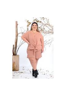 Shorts Curto Almaria Plus Size Lenner Básico Rosa
