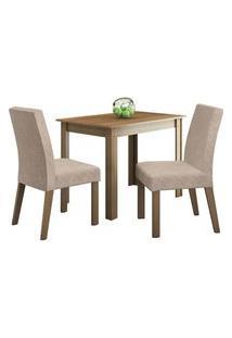 Conjunto Sala De Jantar Madesa Vic Mesa Tampo De Madeira Com 2 Cadeiras Rustic/Imperial Cor:Rustic/Imperial