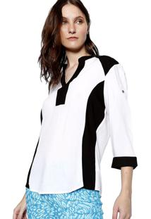 Camisa Manga 3 4 Energia Fashion Branco Preto