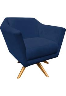 Poltrona Decorativa Lorena Suede Azul Marinho Com Base Giratória De Madeira - D'Rossi