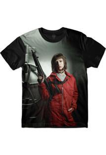 Camiseta Insane 10 La Casa De Papel Tokio Armada Sublimada Cinza