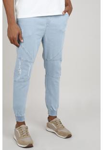 Calça Jeans Masculina Jogger Destroyed Azul Claro
