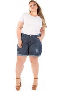 Bermuda Feminino Jeans Boyfriend Olaf Com Puídos Plus Size - Feminino-Azul