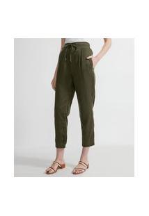Calça Comfort Com Cinto Embutido E Pregas   Marfinno   Verde   G