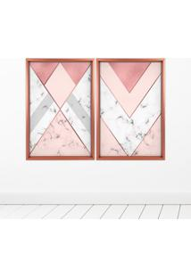 Quadro Com Moldura Chanfrada Triângulo Com Mármore Rose Metalizado - Médio